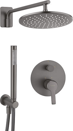 CONCEALED SHOWER WITH  FIXED RAIN HEAD AND HAND SHOWER-ARNIKA TITANIUM