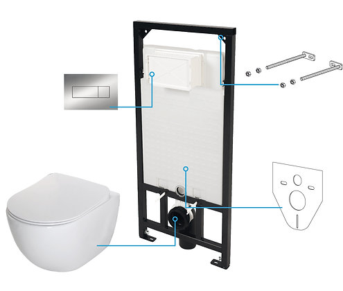 WALL-HUNG TOILET SET 6in1 PEONIA (Chrome)