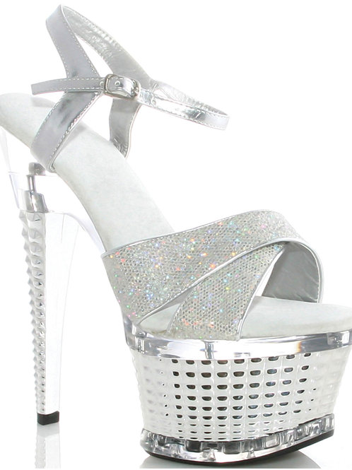 """Ellie Shoes Disco 6"""" Crossed Strapped Textured Platform Silver"""