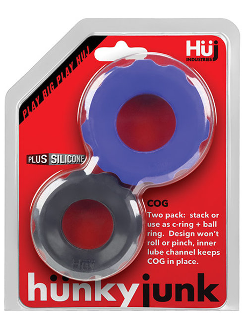 Hunky Junk Cog Ring 2 Size Double Pack - Cobalt & Tar