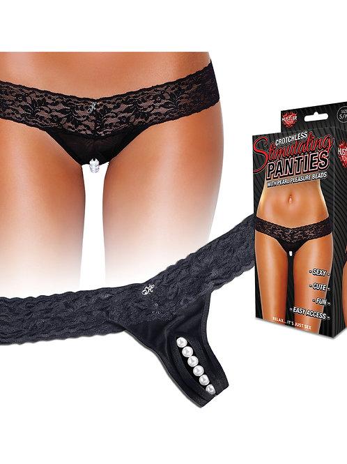 Hustler Stimulating Panties w/Pearl Pleasure Beads Black