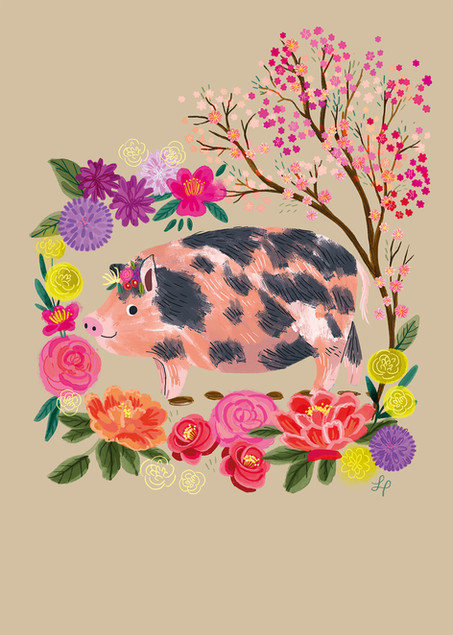 Pig With A Floral Crown Illustration