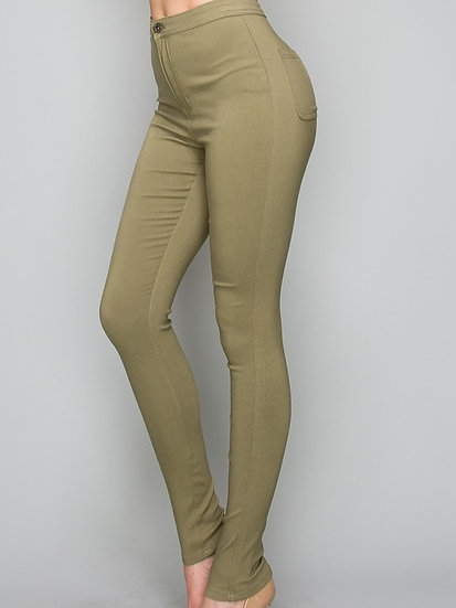 Skinny Fit Button Jeggings