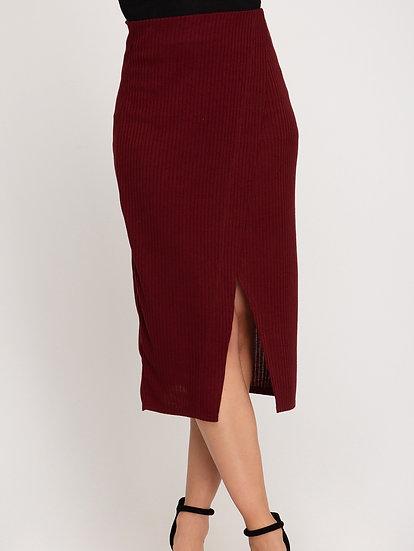 Rib Knit Midi Skirt w/ Front Overlap Detail and Elastic Waistband