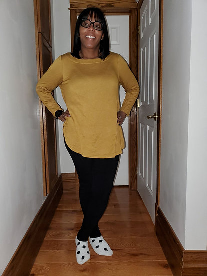 Plus Size Solid French Terry Round Neck Casual Long Sleeves Tunic