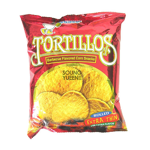 GRANNY GOOSE TORTILLOS BARBECUE FLAVORED CORN SNACKS EXTRA THIN 100G