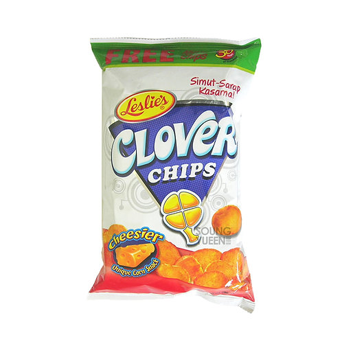 LESLIE'S CLOVER CHIPS CHEESIER UNIQUE CORN SNACK 85G