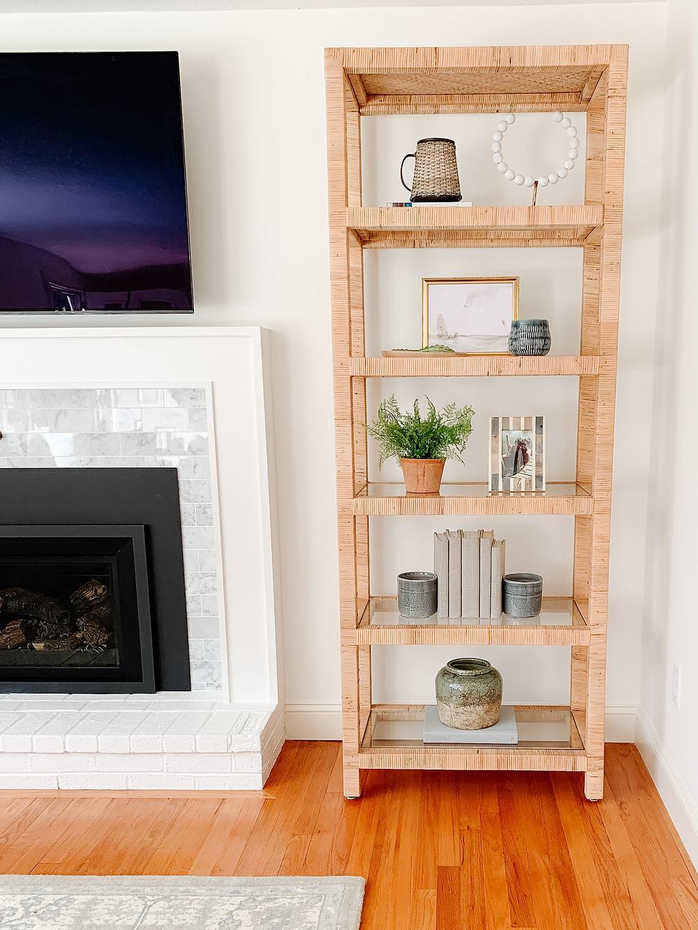 rattan bookshelf, bookshelf styling, one kings lane bookshelf