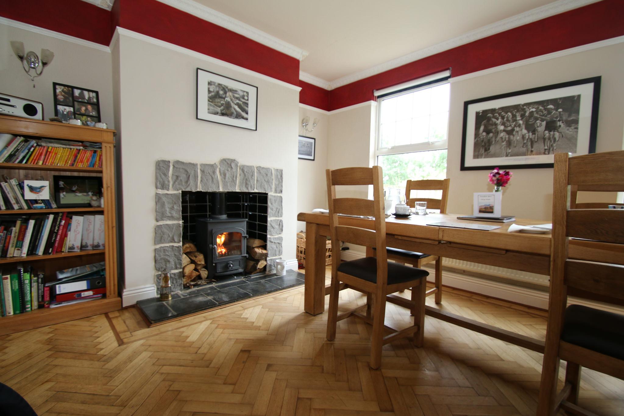 Log burner in the Dining Room