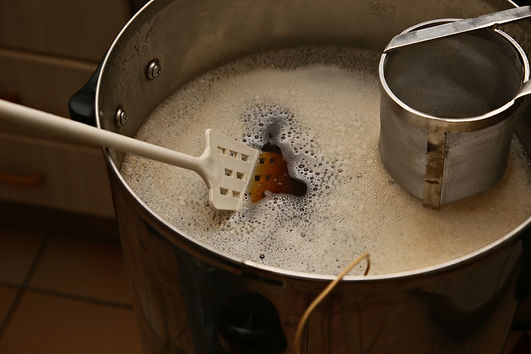 Brewing craft beer in a kitchen. Home br