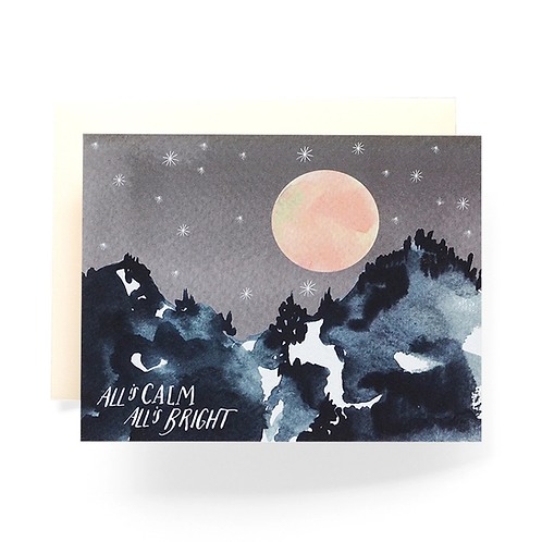 All Is Calm Mountain Greeting Card by Antiquaria
