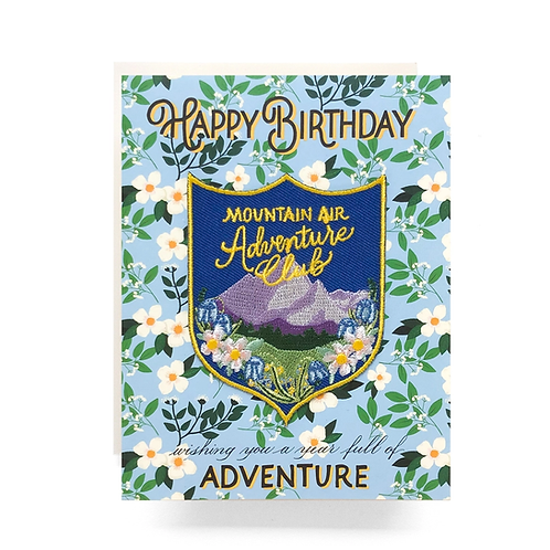 Patch Greeting Card - Mountain Adventure Birthday by Antiquaria