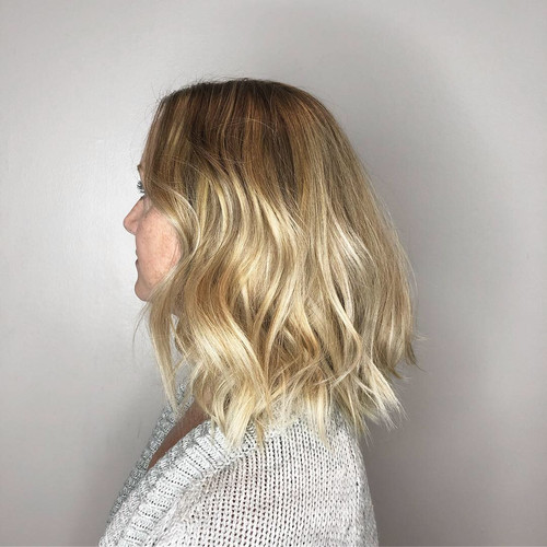Blonde babylighted and balayaged lob