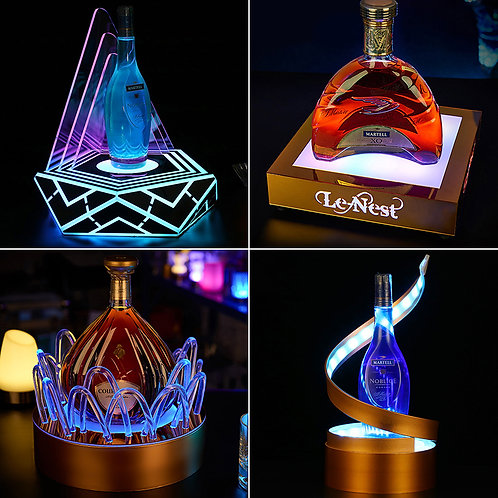 Colourful LED wine bottle display
