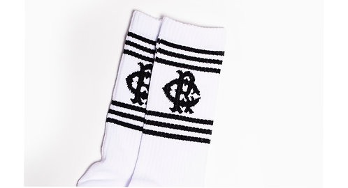 White Six Stripe RC Socks