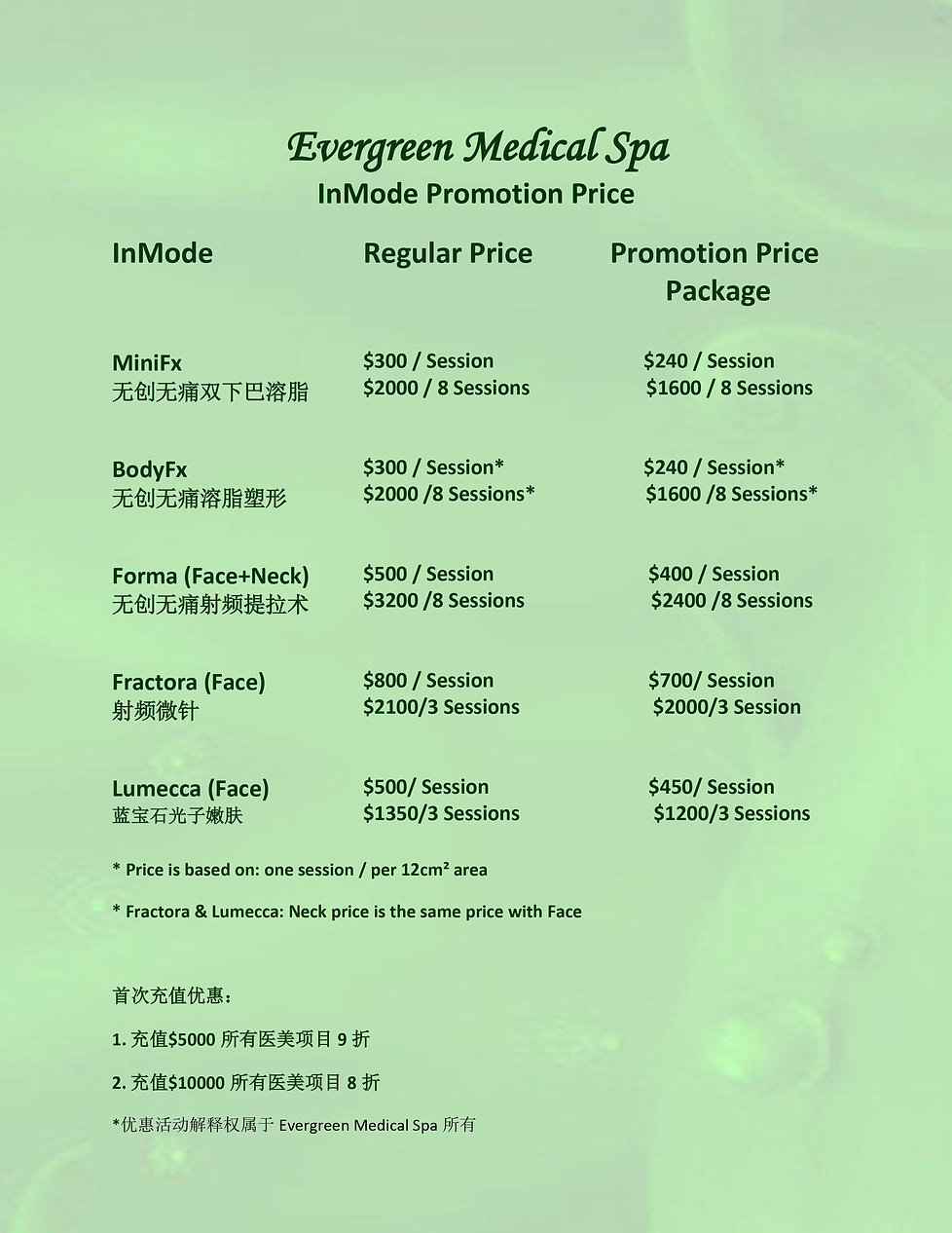 Evergreen Inmode Price List 20200123-2.j