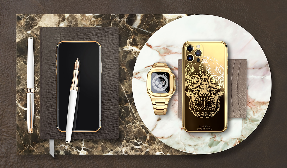 24K Gold Apple iPhone 12 Pro Max & 24K Gold Smart Watch
