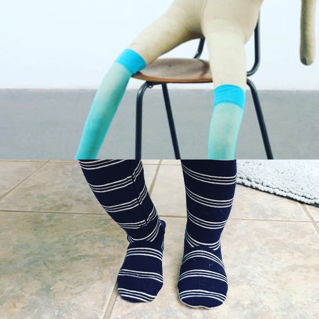 Top: Suffolk Bunny, Sarah Lucas. Bottom: Baby Legs.