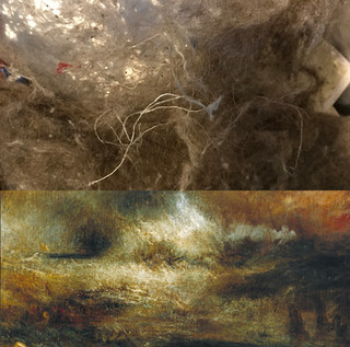Top: What my vaccum collected today. Bottom: Stormy Wreck, J.M.W. Turner.