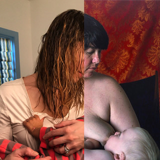 Left: First day without nursing since becoming a mother. Right: Self Portrait/Nursing, Catherine Opie.