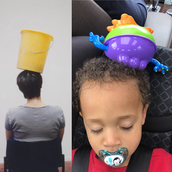 Left: One Minute Sculpture, Erwin Wurm. Right: Nap-long sculpture, placed by my son on his own head before falling asleep.