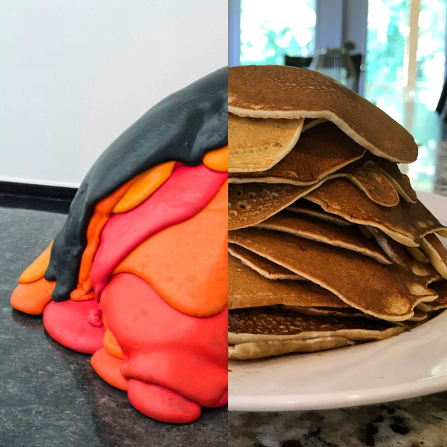 Left: Untitled VW, Lynda Benglis. Right: Breakfast.