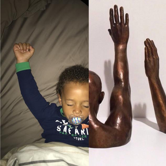 Left: Asleep, about to wake up. Right: Raise Up, Hank Willis Thomas.