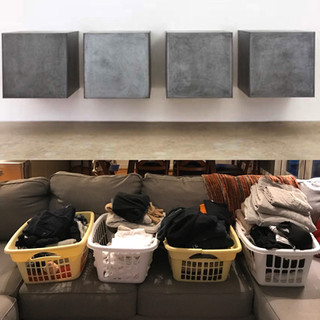 Top: Galvanized Steel, Donald Judd. Bottom: A week's worth of folded laundry.