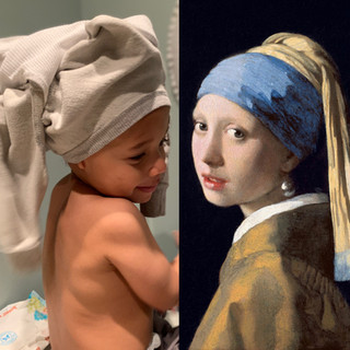 Left: The Boy with a Sweatshirt Stuck on his Head. Right: The Girl with a Pearl Earring, Johannes Vermeer.