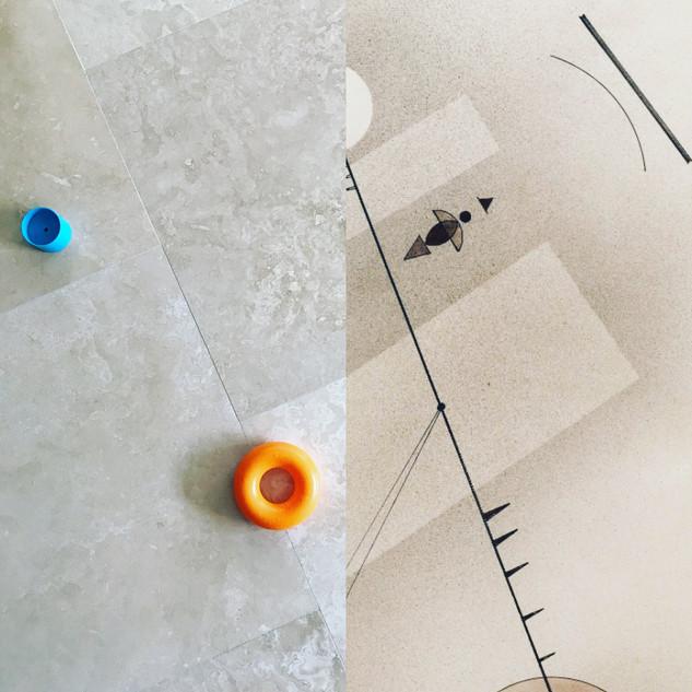 Left: Toys on the kitchen floor. Right: Taut Line, Wassily Kandinsky.