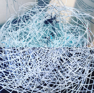 Top: Thread trimmings in my studio. Bottom: Luminance, Terry Winters.