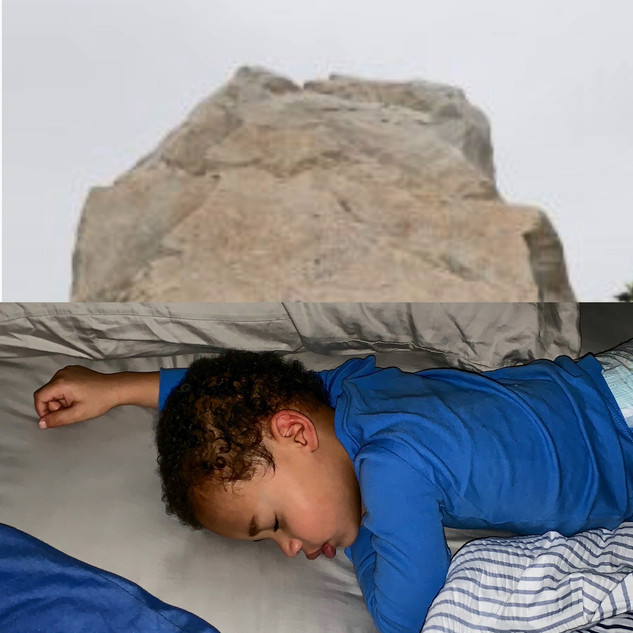 Top: Top of Levitated Mass, Michael Heizer. Bottom: 4:15 a.m., my bed, my pillow.