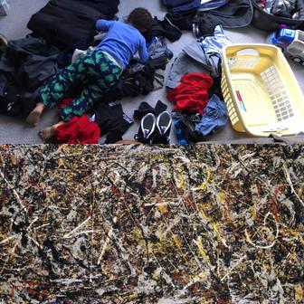 Top: A freshly folded, clean basket of laundry. Bottom: Alchemy, Jackson Pollock.