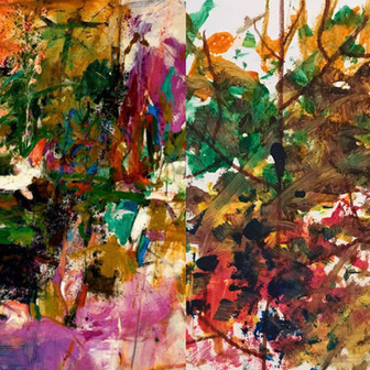 Left: Joan Mitchell, 1961. Right, My son, 2017.