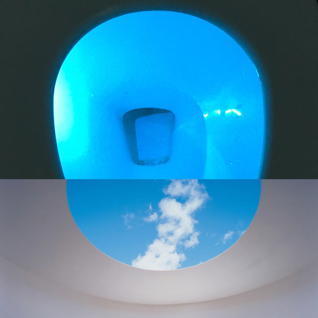 Top: Our toilet. Lit up by some contraption so we can see it in the dark. Purchased by my husband on Amazon. Bottom: Roden Crater, James Turrell.