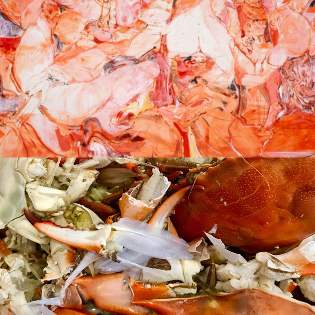 Top: On the Town, Cecily Brown. Bottom: Crabs for dinner.