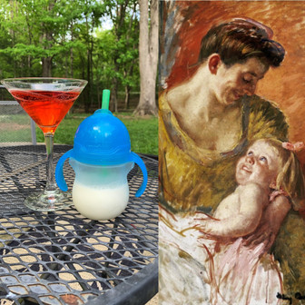 Left: Negroni and Milk. Right: Mother and Child, Mary Cassatt.