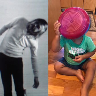Left: I am Making Art, John Baldessari. Right: Accidentally making Baldessari's art on the kitchen floor.