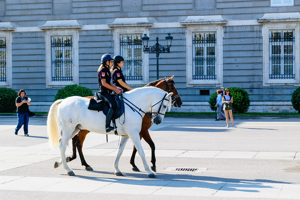 Police at the Royal Palace of Madrid, Mounted Police Madrid, Royal Palace of Madrid