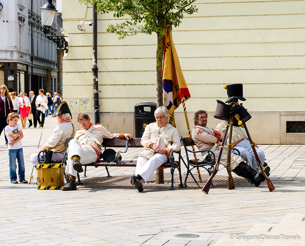 Soldiers resting after the reenactment of the Napoleonic War, Bratislava Slovakia, Travel blog, Travel photography
