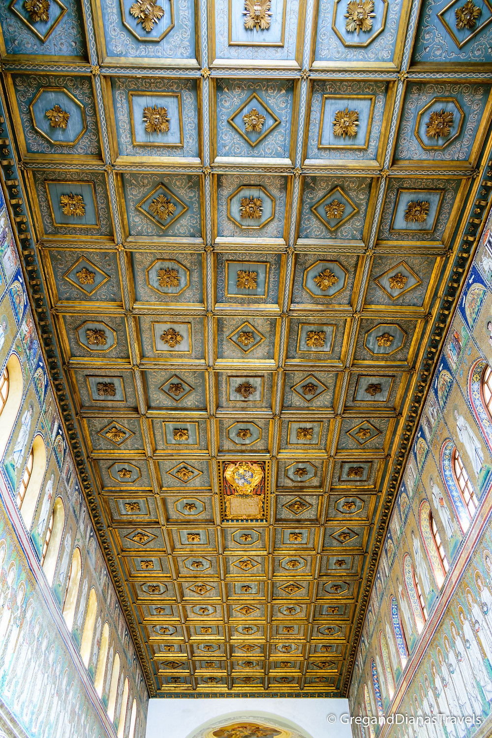 Wooden inlay ceiling in Basilica Sant´Apolinnare Nuovo