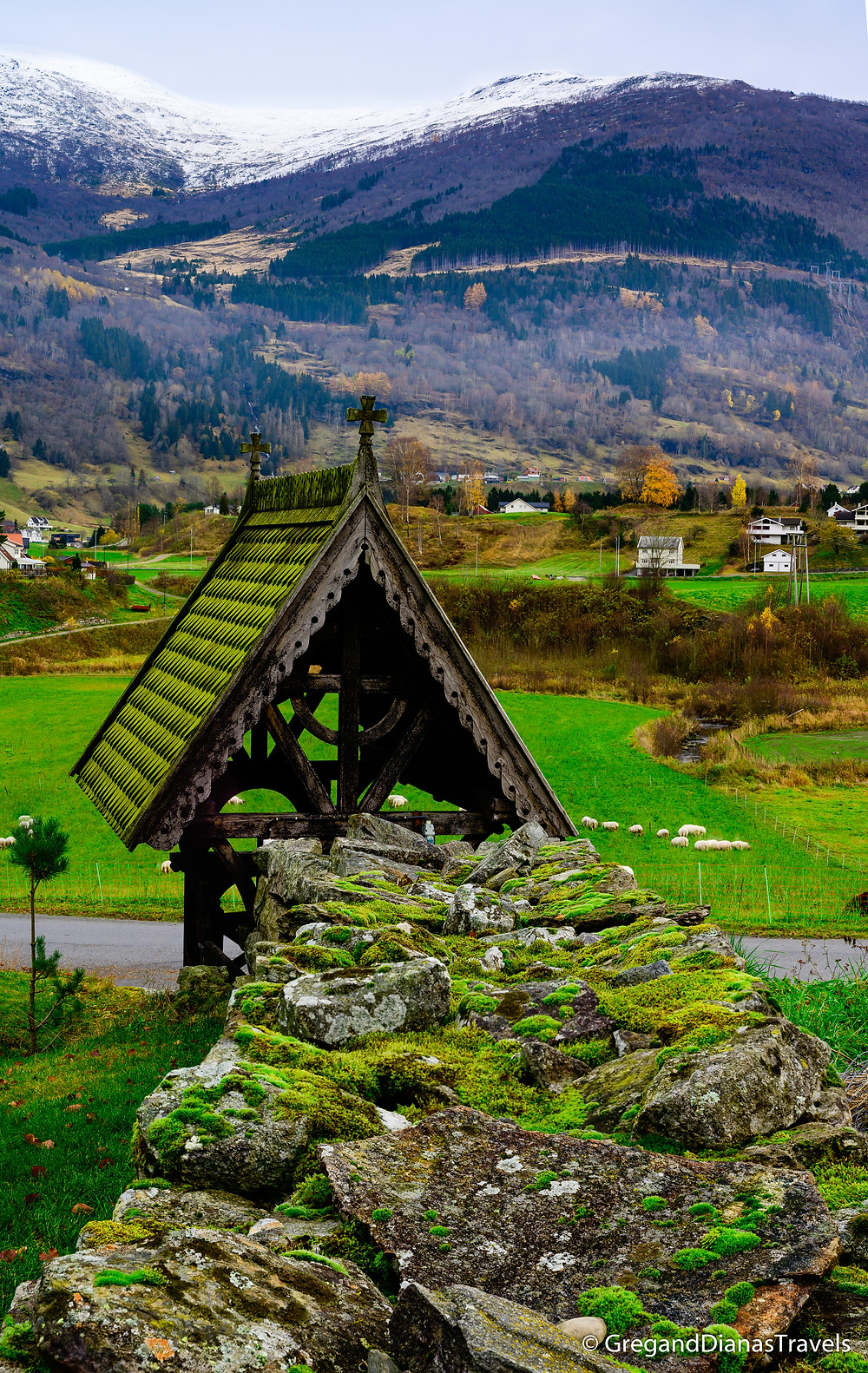 Mossy rock fence, Hopperstad Stave Church surrounding, Vikoyri municipality, Travel to Norway, Norwegian stave churches