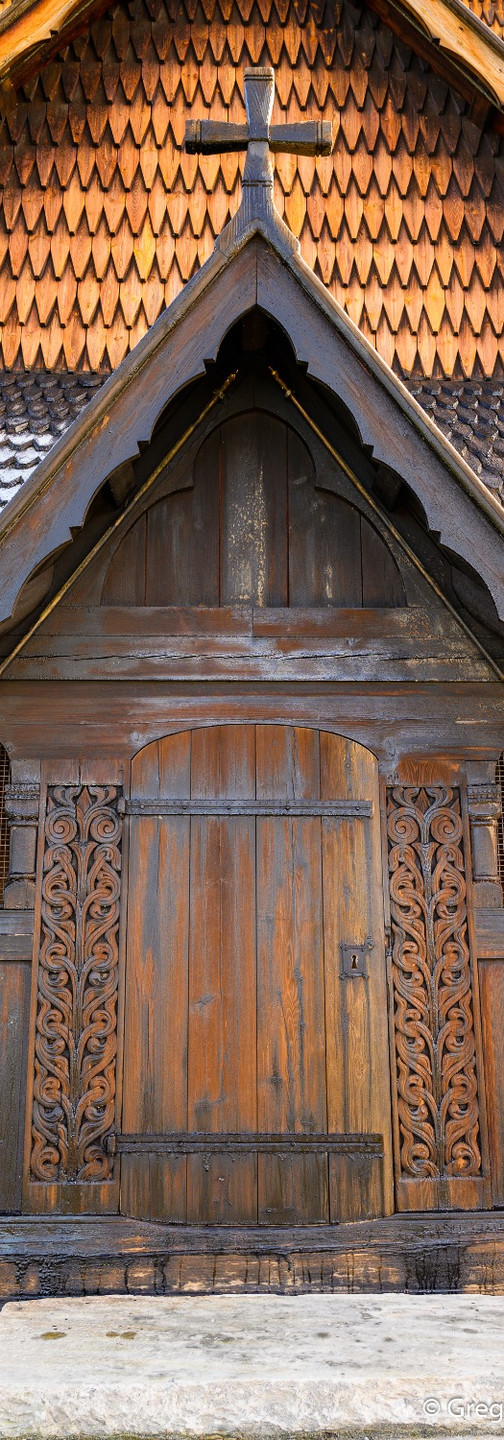 Entrance of Heddal Stave Church, Norway