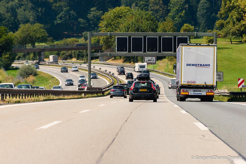 Travel blog, Travel photography,  Bavarian Landscape, German Highway, Deutsches Autobahn