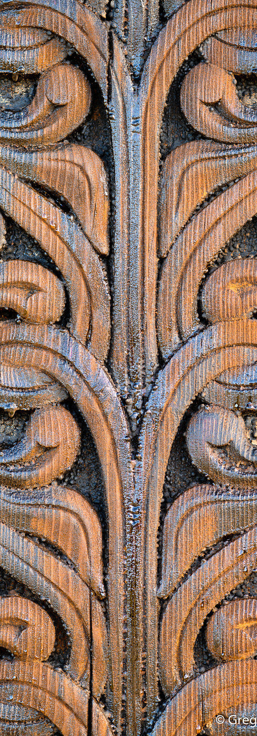 Wooden carved pattern on the entrance of Heddal stave church