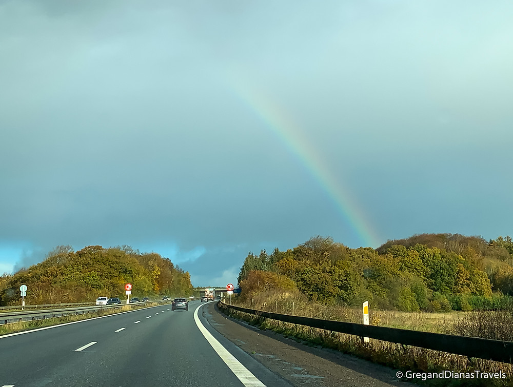 Rainbow in Denmark, Danish highway, Car tour Denmark, how fast you can drive in Denmark