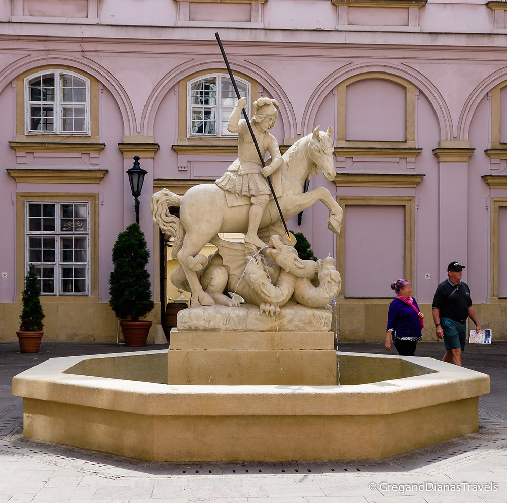 Statue of St. George in the courtyard of the Primate´s Palace, Primate´s Palace, Bratislava Slovakia, Travel blog