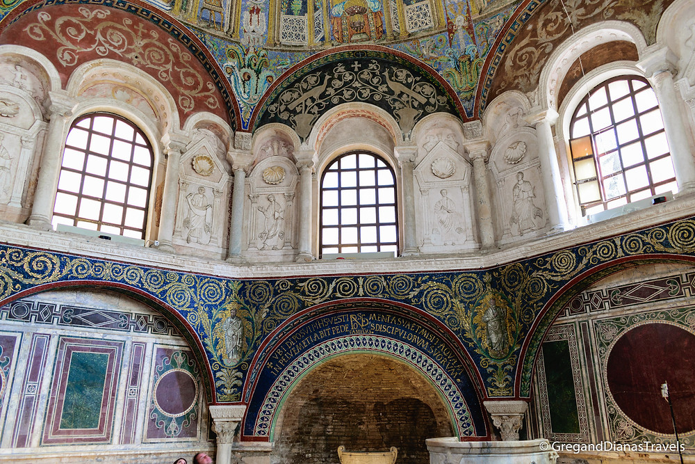 Walls decorated with marble and mosaic in Baptistry of Neon