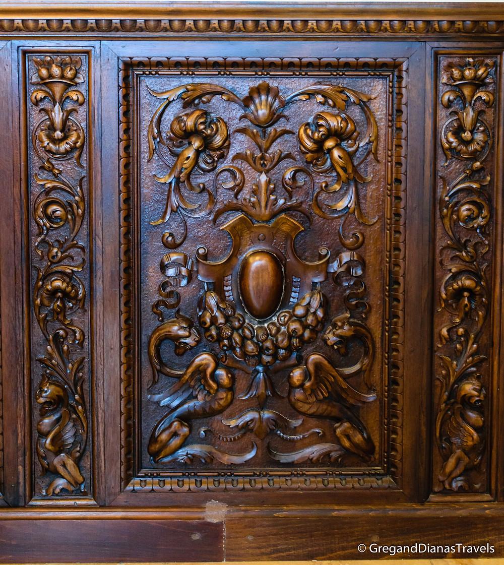 Wood carving decorating the walls, Kormuth Patisserie, Bratislava Slovakia, Travelblog