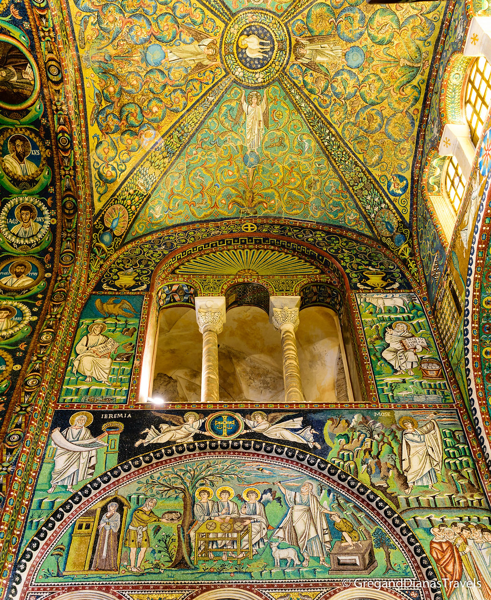 Mosaic decoration on the main walls of Basilica San Vitale